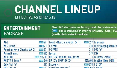Entertainment Package Channel List